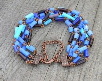 Glass Tube Copper Link Bracelet