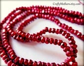 CHERRY RED PYRITE Faceted Rondelles, 3.4mm, 1/4 strand (3.25 inches), warm red metallic, sparkly, unique supplies, beads