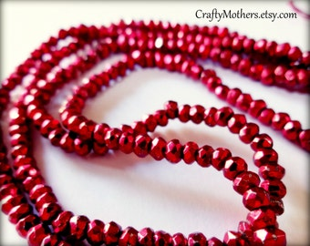 Use TAKE10 for 10% off! CHERRY Red Pyrite Faceted Rondelles, 3.4mm, 1/4 strand (3.25 inches), warm red metallic, sparkly - Reg. 6.35