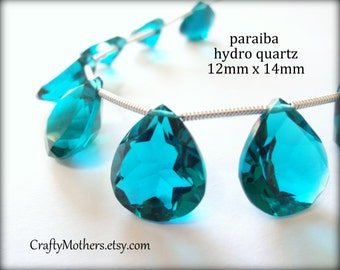 AAA Paraiba Teal Blue Hydro Quartz Faceted Heart Cut Stone Briolette, (1) Matched Pair, 12mm x 14mm