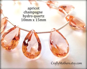 29% SALE! (Code: FROSTY) APRICOT Champagne Hydro Quartz Faceted Pear Cut Stone Briolettes, Choose a Matched Pair or a Trio, 10mm x 15mm