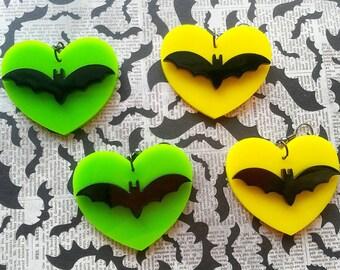 Bat earrings, heart earrings, halloween jewelery