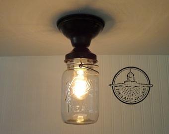 Single Vintage Quart Mason Jar Ceiling LIGHT - Farmhouse Rustic Chandelier Lighting Fixture Flush Mount Kitchen Pantry Pendant LampGoods