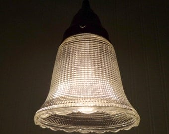 Vintage PENDANT Light With Textured Clear Glass Shade