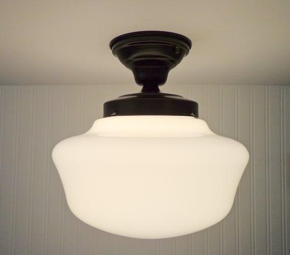 vintage schoolhouse ceiling light with semi flush mount. Black Bedroom Furniture Sets. Home Design Ideas