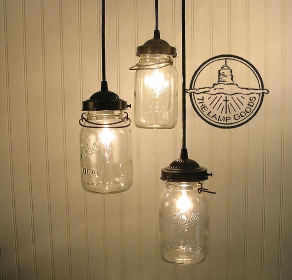 Vintage Canning Jar CHANDELIER Trio Light Flush Mount