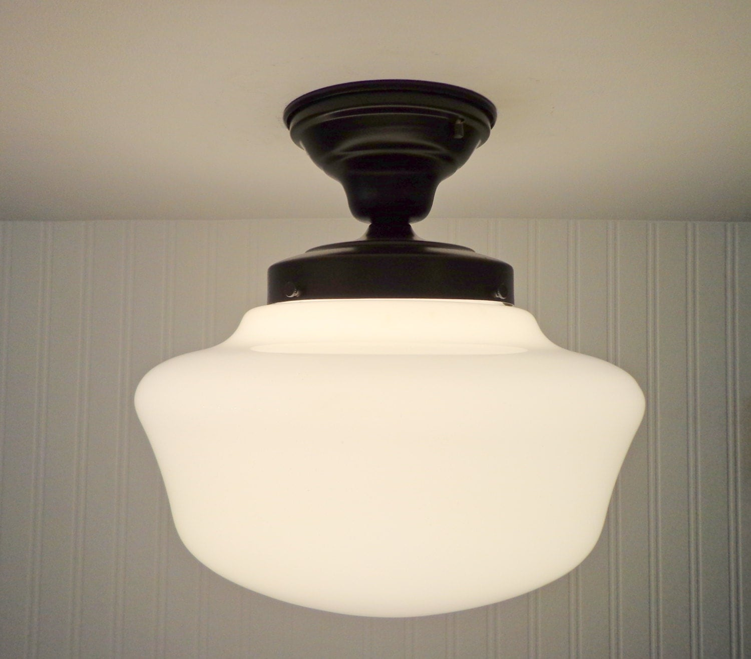 Vintage Schoolhouse Ceiling Light With Semi Flush Mount
