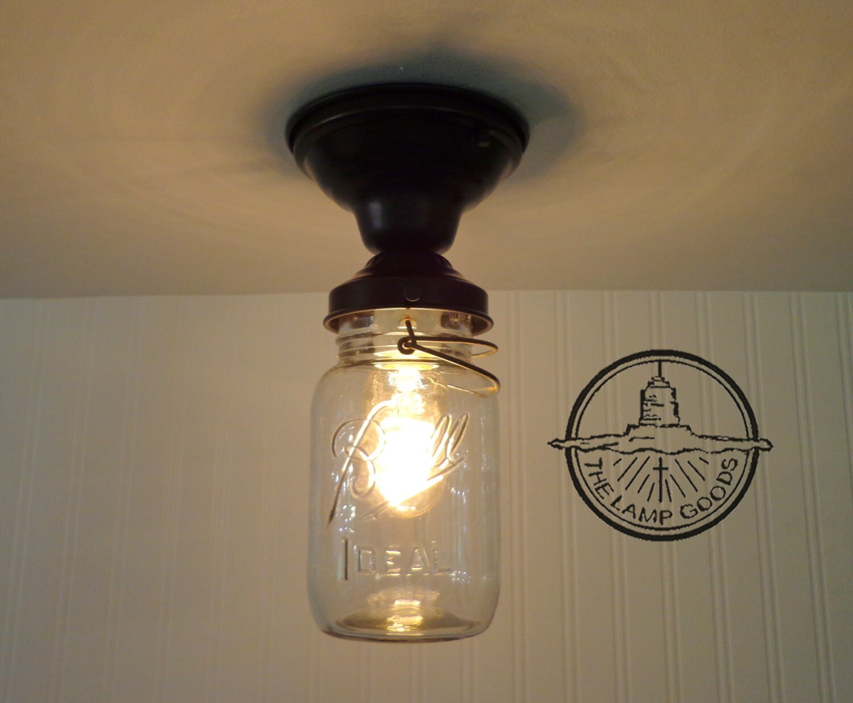 Single Vintage Quart Mason Jar Ceiling Light Farmhouse