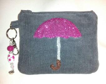 Dark Gray Corduroy Zippered Wristlet Clutch with Glitter Umbrella in Mauve Raspberry, Keyring & Swivel Hook