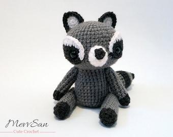 Crochet PATTERN PDF - Amigurumi Woodland Critter Raccoon - crochet animal pattern, amigurumi raccoon pattern, raccoon plush, crochet raccoon