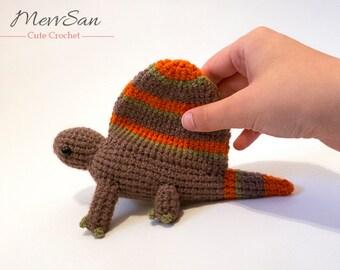 MADE to ORDER - Amigurumi Dimetrodon Dinosaur - amigurumi dinosaur plush, cute crochet dinosaur softie, amigurumi dinosaur toy