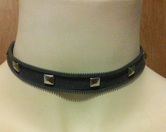 Blue Steel Studded Upcycled Zipper Choker