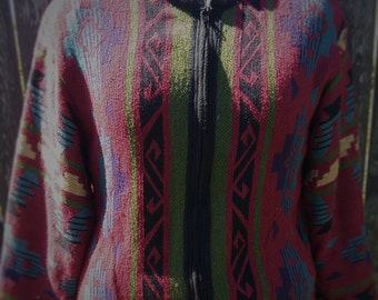 VINTAGE 80s 90s Aztec Zip Cotton Cardigan Sweater