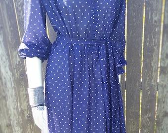 VINTAGE 80s Navy Blue Polka Dot Faux Wrap Dress Frills Girly