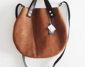 ON SAL Brown leather  basket bag ,Cross-body bag