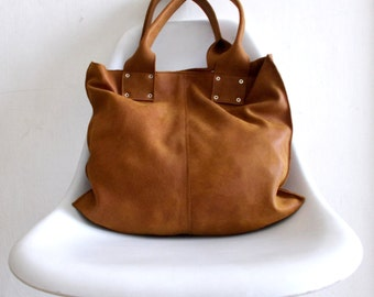 Brown leather  bag - wonen leather bag - every day bag