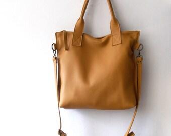 Tan camel leather tote - Handbag - Cross-body bag - Every day bag - Women bag - Shoulder leather bag