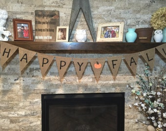 Happy fall Pumpkin pennant banner, burlap bunting, banner, fall, harvest
