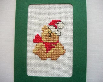 Christmas Bear Greeting Card or Crosstitch Wall Hanging Hand Embroidery