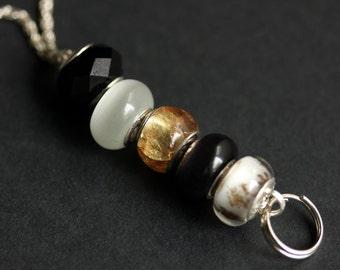 Badge Holder Black and White Badge Lanyard. Silver Id Lanyard Handmade Nurse Lanyard. Beaded Badge Necklace Lampwork Glass Badge Leash.