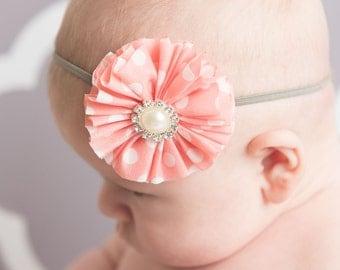 Coral flower headband, polka dot flower, skinny elastic headband, grey headband, newborn headband, photo prop newborn, baby headband, adult