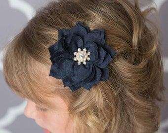 Navy flower clip, Gold hair clip, girl hair clip, flower girl hair accessories, navy hair clip, baby shower gift, toddler hair clip, bridal