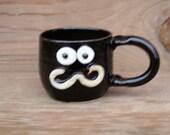 Ceramic Coffee Cup 12 oz Mustache Mug. LEFT-HANDED Gentleman's Stache Mug. Groomsman Mr Teacup. Hipster Handlebar Mustache Face Mug. Black.