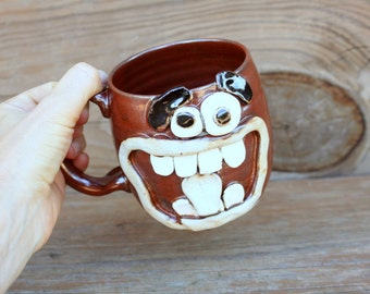Giant Coffee Cup. 16 Oz Extra Large Beer Stein. Big Ceramic Stoneware Pottery Coffee Lovers Mug. Big Coffee Cup. Brick Red Brown.