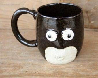 Super Hero Coffee Cup. 12 Ounce Guys Mug. Funny Man's Pottery Face Mug. Stoneware Tankard. Comic Book Character Mug. Black. Great Guy Gifts.