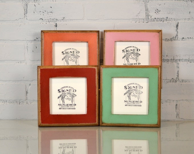 "5x5"" Square Picture Frame in 2-Tone Style and Finish COLOR of YOUR CHOICE - 5x5 Photo Frame Handmade"