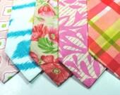 Pink Neckties Floral Neckties Pink Plaid Blue Ikat Necktie Custom Neckties Cotton Neckties Pink and Green Neckties