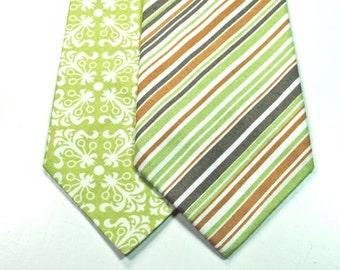 Lime Neckties Stripe Neckties Mens Neckties Cotton Neckties Custom Neckties