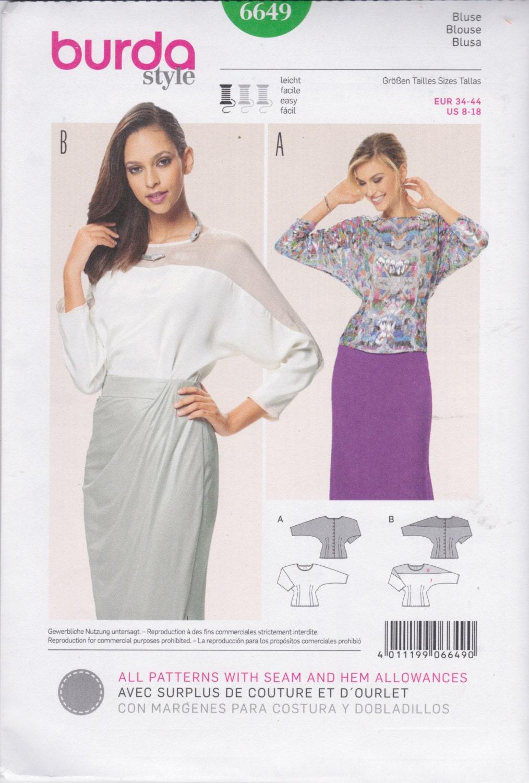 Burda Style Pattern 6649 Easy Blouse Has Dolman Sleeves