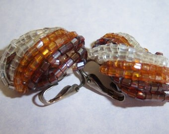 clip on earrings vintage tiny brown, orange, clear beads wrapped clip on earrings 615B