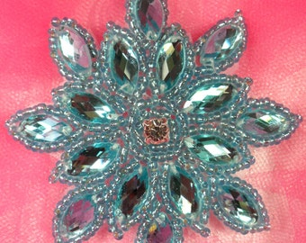 "JB219 Turquoise Snowflake Glass Beaded Applique 3"" (JB219-tr)"