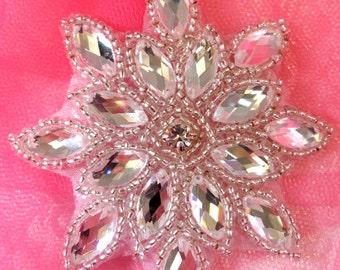 """JB219 Silver Snowflake Applique Jewel Beaded 3"""" (JB219-sl)"""