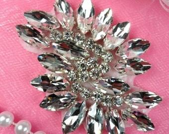 """JB234 Glass Rhinestone Applique Crystal Marquise Swirl 2.5"""" (JB234-cr)"""