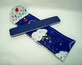 PK Board Case in Showery in Midnite - Nail File Case - Emery Board Case - Pencil or Pen Case - Purse Accessory - Ready To Ship