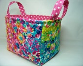 PK Fabric Basket in Flower Fields in Multi - Ready To Ship - Washable - Reversible