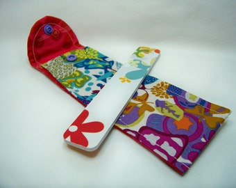 PK Board Case in Art Theory in White - Nail File Case - Emery Board Case - Pencil or Pen Case - Purse Accessory - Ready To Ship