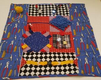 "Tool Man Fidget Blanket / 25"" x 25"" /  Alzheimer's Stroke Rehabilitation Dementia Patient Restless Sensory Blanket/ FREE NAME"