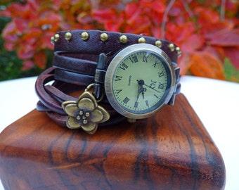 Wrap Around Chocolate Studded Leather Wrap Watch - Wrist Watch - Ladies Leather Watch, Bracelet Watch, Women's Watch