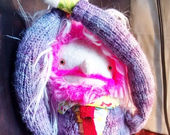 Plush Pink Haired Man Doll in Cardigan