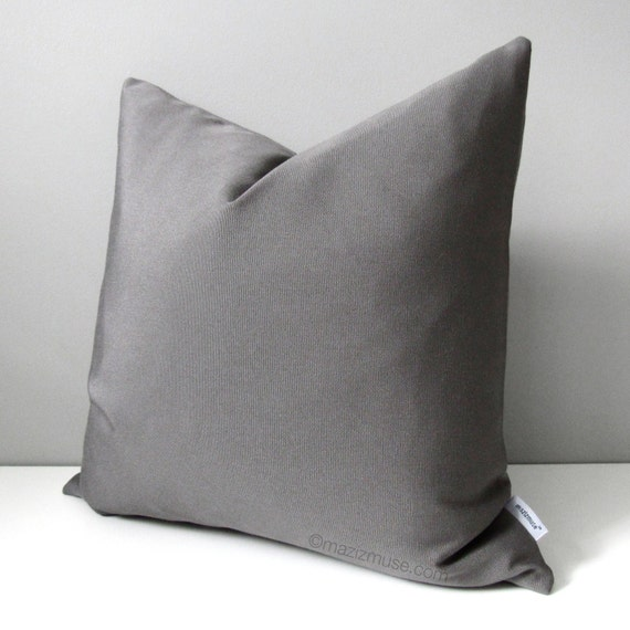 Grey Outdoor Pillow Cover Modern Gray Pillow Case by Mazizmuse