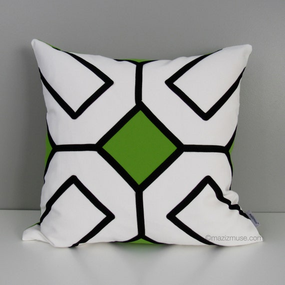 Black White And Green Throw Pillows : Black White OUTDOOR Pillow Cover Modern Geometric by Mazizmuse