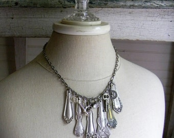 Spoon Necklace, Silverware Statement Necklace, Chandelier Necklace, Silver Spoon Handle Necklace, Charm Necklace, Vintage Assemblage Jewelry