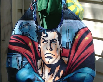 Superman Large Round Tote Bag    Man of Steel  DC Comic
