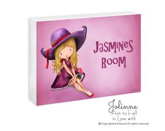 Personalized pink purple girls door hanger sign plaque,door sign custom,kids door signs,childrens art,pink door sign,art for girls room