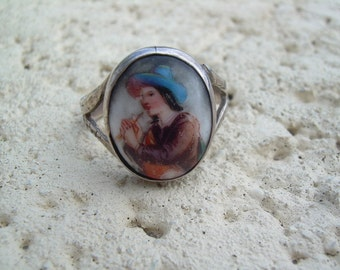 Vintage Hand Painted Porcelain and 925  Ring Aprrox. Sz.6.5 Stamped inside