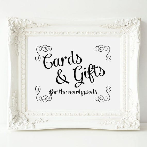 Wedding Gift Table Sign, Printable Cards and Gifts Sign, Wedding Card ...